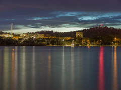 Reflections and An Aircraft Light Trail - Barton - ACT - Australia - 20180606 @ 06:12 (MomentsForZen) Tags: barton australiancapitalterritory australia au momentsforzen mfz x1d color reflections lake lakeburleygriffin mountpleasant australianamericanwarmemorial eagle aircraft lighttrail longexposure sky night