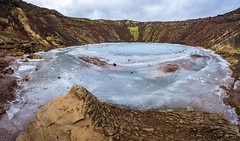 Ice Over Fire (JeffMoreau) Tags: kerid crater lake sony a7ii zeiss pano panorama stitched golden circle iceland landscape volcano volcanic ice fire