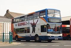 SCNL 18327 @ Lancaster bus station (ianjpoole) Tags: stagecoach cumbria north lancs dennis trident alexander alx400 mx05whv 18327 working route 2 lancaster bus station combermere road heysham