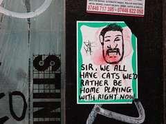 Sir, we all have cats we'd rather be home playing with right now (aestheticsofcrisis) Tags: street art urban intervention streetart urbanart guerillaart graffiti postgraffiti london uk great britain england shoreditch hackney sticker