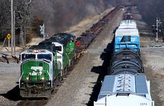 60M Trio on the Transcon (Jeff Carlson_82) Tags: bn bnsf ks emd sd60m burlingtonnorthern burlingtonnorthernsantafe melvern kansas emporiasub transcon 8179 meet kckemp baretable train railroad railfan railway