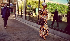 How do I look ?. Manchester (M.DStreets) Tags: manchester england street candid african dress mdstreets lumix gx7 road piccadilly colour color