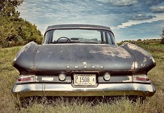 the open road awaits.... (BillsExplorations) Tags: rust car classic vintage psychosilosaloon illinois oldcar dodge old openroad sky