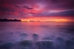 Sunset (Frank S. Andreassen) Tags: sunset sky sea colorful colors red long exposure nature water fjord mountains stones wide angle frank andreassen landscape troms harstad andøya norway northern
