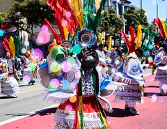 Bolivian Spirits (thedailyjaw) Tags: sanfrancisco themission sf bayarea carnaval bolivian bolivia music parade streetphotography festival nikon d610 colors streetperformers bokeh bubbles