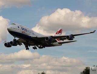 British Airways B747-436 G-CIVP landing at LHR/EGLL