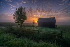 Sunrise near the shed (ronver1960) Tags: sunrise betuwe netherlands sony tokina shed summer misty serene mystic sky sun