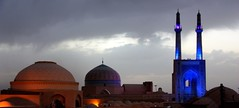 Sunset over Yazd with the Jameh mosque, Iran (Elena14u2012) Tags: iran yazd jameh mosque religion architecture buildings