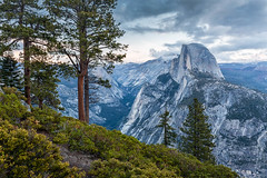 Sierra Blue Hour (Kirk Lougheed) Tags: california glacierpoint halfdome sierranevada sierras tenayacanyon usa unitedstates yosemite yosemitenationalpark dusk landscape mountain nationalpark outdoor park spring tree