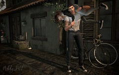 If Crazy is a Place, (Nikky-May) Tags: bicycle bike maitreya lelutka mesh people me secondlife female male new digital flickr sl avatar signature gianni bento pose outside fun playful couple silly crazy jeans converse allstars denim love home inlove green casual