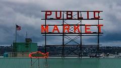 Pike Place Market 1 (Jasonnwolf) Tags: publicmarket neonlight neonlights cityfishmarket pikeplacemarket seattle washington moody mood clouds