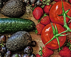 RED, BLACK, AND GREEN (sadler0) Tags: cucumber avocados tomatoes strawberries strawberry grapes blackgrapes