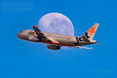 Jetstar Airways Airbus A320-232 Reg. VH-VGO crosses the Waning Gibbous Moon 83.7% (ePixel Images) Tags: jetstar jetstarairways jetstaraustralia vhvgo airbus airbusa320 airbusa320232 jq811 brisbane transit waninggibbousmoon bne flight travel