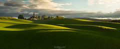 Hedenstad goes Tuscany (Ron Jansen - EyeSeeLight Photography) Tags: hedenstad heistadmoen kongsberg norway spring green greens field crops fresh light evening sunset clouds drama church panorama panoramic stitch hilly hills shadows