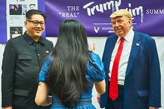 """Me, Between """"Kim and Trump,"""" Singapore (singaporebugtracker) Tags: singaporebugtracker trumpkimsummit donaldtrump kimjongun singapore 12june2018 backview longhair rednecktie maosuit spectacle eyeglassframe westernsuit"""