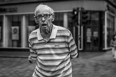 Breath (Leanne Boulton) Tags: portrait urban street candid portraiture streetphotography candidstreetphotography candidportrait streetportrait eyecontact candideyecontact streetlife sociallandscape old elderly man male face eyes mouth look emotion feeling mood glasses stripes tone texture detail depthoffield bokeh naturallight outdoor light shade city scene human life living humanity society culture people canon canon5dmkiii 70mm ef2470mmf28liiusm black white blackwhite bw mono blackandwhite monochrome glasgow scotland uk