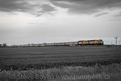 "VIA's ""Canadian"" Under Threatening Skies (Train Geek) Tags: manitoba winnipeg"
