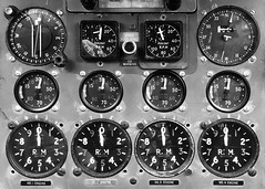 Pilots Console within the Shackleton (Puckpics) Tags: instruments flight console shackleton bomber dials controls monochrome blackandwhite bw