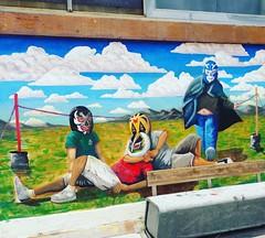 Unas luchitas. (spawn5555) Tags: mural pintura street urban ciudad city méxico aguascalientes pared wall muro
