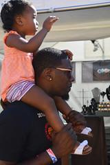 Drumming on dad's head (radargeek) Tags: paseoartsfestival paseodistrict oklahomacity okc 2018 may festival sunglasses shoulderride kid child