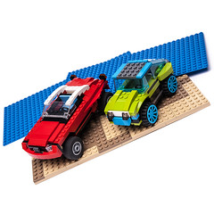 5867 & 31074 alternate models (KEEP_ON_BRICKING) Tags: lego creator set 31074 5867 car alternate moc mod model alternative custom design white background amazing awesome keeponbricking youtube studs bricks wheels rims red lime green beach scene blue tan sand ride drive 4x4 offroad