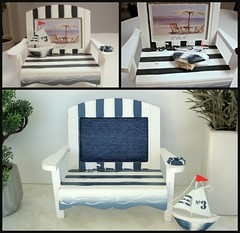Little bench (Deejay Bafaroy) Tags: bench bank 16 scale playscale miniature miniatur barbie doll puppe boat boot blue blau white weiss collage denim