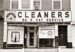 Hoboken Cleaners (Meredith Jacobson Marciano) Tags: hoboken sign letters ilford ricoh500 vanishing