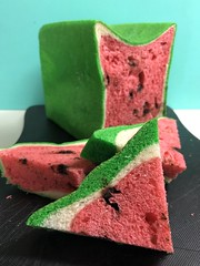 Watermelon shaped bread (MIREILLE美麗) Tags: 日本 パン スイカ 西瓜 宮城 eating gourmet miyagi japanese japan green red food unique bread fruit watermelon toast
