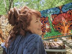 Brigid (clarkcg photography) Tags: woman redhead portrait textile cloth wool spin colors brigid red blue green