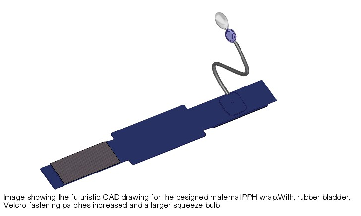 Image showing the futuristic CAD drawing of the designed Maternal PPH Wrap