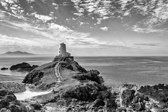 The big tower - Tŵr Mawr (andyrousephotography) Tags: llanddwynisland anglesey northwales lighthouses beacons tŵrbach tŵrmawr towers stone whitewashed sunshine clouds tripodcarrier kindle conversion blackandwhite bw