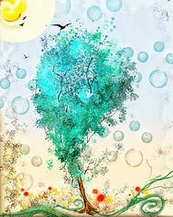 """Charmed Life"" (donnacoburn1) Tags: drawing colour brushes painting ipadart nature tree appmashing metabrush glaze creative artwork digitalart safe public donnacoburn apple apps pencil ipadpro digital mobile imagination art"