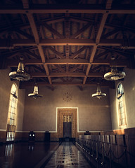 A beatiful view of inside of Los Angeles Union Station with dramatic light and classic windows and lamps. (pedferr) Tags: sunny color cinematic inside retro moody lowlight 4x5 orange door california unitedstatesofamerica intense antique station dramatic lines usa building sunset old vertical vintage mystic pattern clock sun colorful classic wall urban backlight shapes room sunrise morning interior warm column