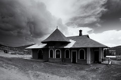 Changing Weather Over the Depot - Victor, CO (Christopher J May) Tags: victor colorado co depot midlandterminalrailway storm weather clouds sky station railroad abandoned bnw blackandwhite monochrome nikond800 tamronsp2040mmf2735