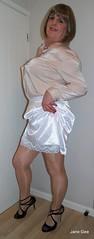 Lacy peeker (janegeetgirl2) Tags: transvestite crossdresser crossdressing tgirl tv ts stockings heels garters nylons glamour lingerie white satin skirt blouse stilettos fully fashioned highheels bra mini rht short
