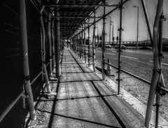 the scaffold (johnny_9956) Tags: street road scotland urban blackandwhite monochrome dundee city scaffold shadows