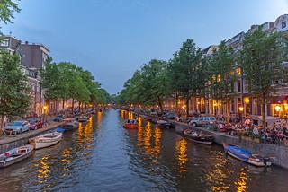 Beautiful Amsterdam on a warm summer night