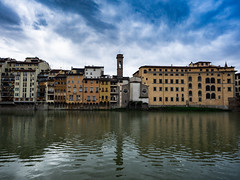 River Arno (Feldore) Tags: florence arno river view skyline architecture colourful italy italian feldore mchugh em1 olympus 1240mm buildings sky clouds blue