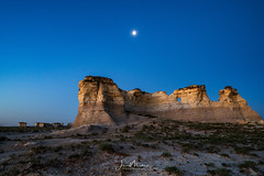 Moon over Monument Rocks (Wits End Photography) Tags: view natural landscape sunrise kansas nature scenic sky grassland moon rural country picturesque monumentrocks am dawn daybreak daylight early firstlight light morn morning outdoor outside sunup