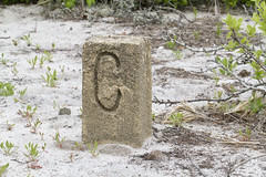 """C"" is for Corner (brucetopher) Tags: cement concrete survey marker corner c letter theletterc alphabet engrave engraved engraving sand beach stone carve print location mark pinpoint map coordinates plot dune dunes boundary property rectangle obelisk"