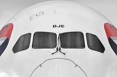 'Bravo Juliett Echo' (A380spotter) Tags: mugshot windshield windscreen windows flightdeck cockpit nose radome boeing 787 8 800 dreamliner™ dreamliner gzbje internationalconsolidatedairlinesgroupsa iag britishairways baw ba britishairwaysengineering westbase bealinebase maintenancebase london heathrow egll lhr partial monochrome blackwhite blackandwhite bw