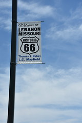 Route 66 - Lebanon, Missouri (Adventurer Dustin Holmes) Tags: lebanonmissouri 2018 route66 lebanonmo streetlight banner missouri rt66 ozarks streetlamp boswellpark elmstreet lcmayfield thomaslrubey