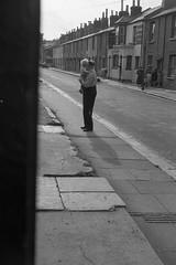 Grandad and Jim by the Clipper Arms. (vintage ladies) Tags: vintage blackandwhite portrait people street road car pub grandadandjim southampton clipperarms
