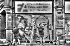 Artists at work (dlsmith) Tags: byn blackwhite fredaldous rx100m3 rx100 sony stevensonsquare graffiti street streetphotography streetart photomatix hdr monochromatic monochrome bw nq northernquarter mcr manchester
