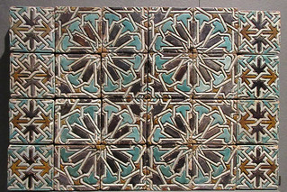 Intricate patterns on ceramic wall tiles - Morocco, 15-16th Century