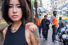 Bangkok girl (RichardB007) Tags: siam tattoo streetphotography portraits portrait city asia thailand girl lady asian street bangkok bkk