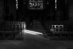 St Giles Cathedral with Norman March 2018 (8 of 50) (Philip Gillespie) Tags: edinburgh scotland st giles cathedral street photography architecture canon 5dsr stained glass windows chairs ceiling old ancient candles angles lines dark floor shadows light day sky sun sunny spring reflections colour green blue red orange yellow mono monochrome black white organ dog shadow long exposure christ religious church chapel indoor interior praying pray service triangles squares clouds feet legs arms hands flame fire