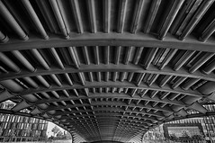 Under the Bridge (Leipzig_trifft_Wien) Tags: berlin deutschland de spree bridge architecture lines pov perspective wideangle black white bnw bwphoto vanishing urban city construction steel structure