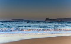 Hazy Sunrise Seascape (Merrillie) Tags: daybreak lionisland sunrise landscape ettalongbeach nature dawn sea water centralcoast morning oceanbeach newsouthwales waves uminabeach nsw waterscape beach ocean earlymorning ettalongbeachpoint cloudy coastal clouds sky seascape australia coast outdoors seaside
