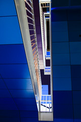 Looking up (Greenstone Girl) Tags: architecture geelong library grlc thedome technology stairwell regional victoria blue squares